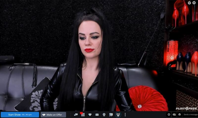 Hot professional domme in live private femdom chat on Flirt4Free