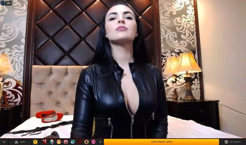 Leather-clad domme humiliating her viewer on LiveJasmin